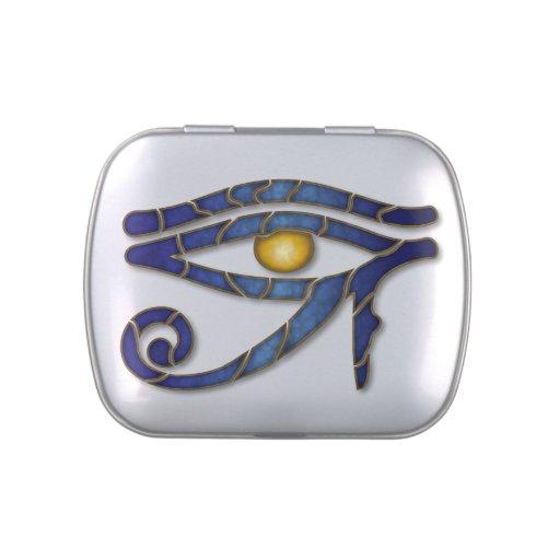 Ojo de Horus - profundamente azul 2 - lata del Jarrones De Dulces
