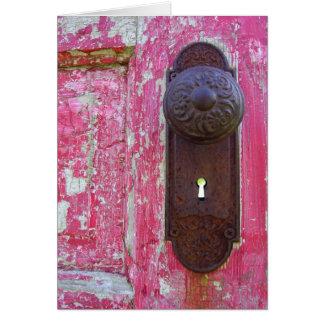 Ojo de la cerradura rojo de la puerta tarjeta de felicitación