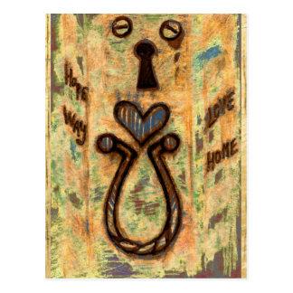 Ojo de la cerradura y corazón tarjeta postal