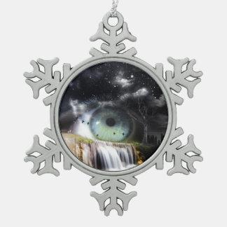 Ojo de la ciencia ficción adorno de peltre en forma de copo de nieve