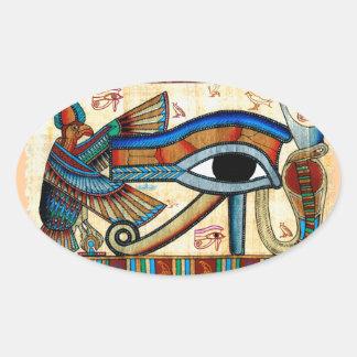 OJO de la colección de arte egipcia mística de Pegatina Ovalada