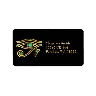 Ojo de la Falso-Esmeralda del Ra en oro Etiquetas De Dirección