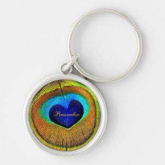 Ojo de las plumas del pavo real del amor con nombr llaveros personalizados