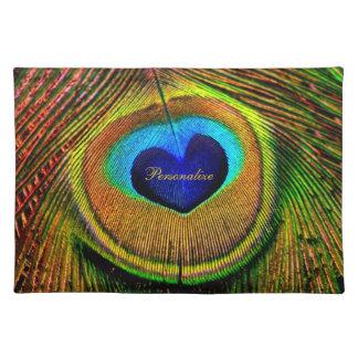 Ojo de las plumas del pavo real del amor con nombr manteles individuales