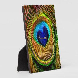 Ojo de las plumas del pavo real del amor con nombr placa de plastico