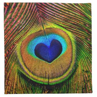 Ojo de las plumas del pavo real del amor servilleta de papel
