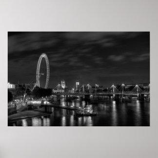 Ojo de Londres en blanco y negro Póster