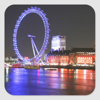 Ojo de Londres en la noche Pegatina Cuadrada