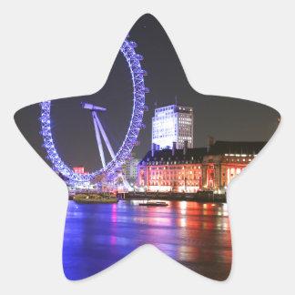 Ojo de Londres en la noche Pegatina En Forma De Estrella