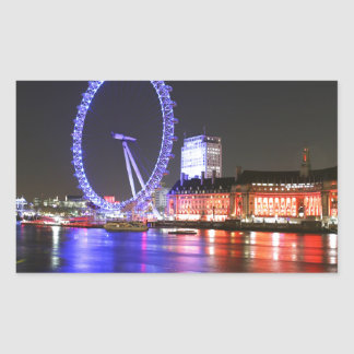 Ojo de Londres en la noche Pegatina Rectangular