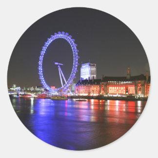 Ojo de Londres en la noche Pegatina Redonda