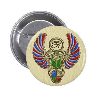 Ojo de los botones del escarabajo de Horus Pin Redondo De 2 Pulgadas