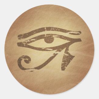 Ojo de los encantos mágicos egipcios de Horus Etiqueta Redonda