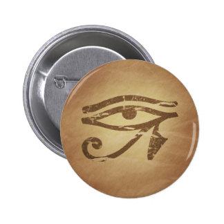 Ojo de los encantos mágicos egipcios de Horus Pin Redondo De 2 Pulgadas