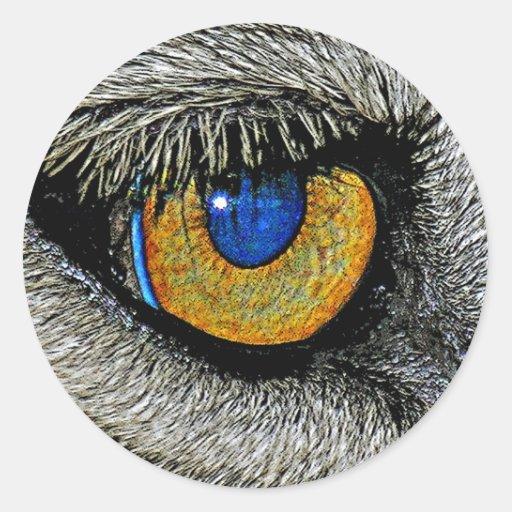 Ojo de los leones, poster realista pegatinas redondas