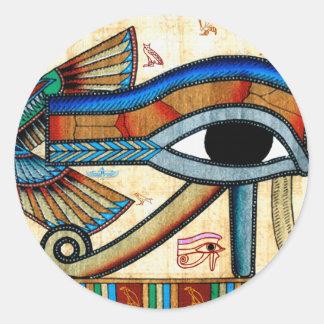 OJO de los pegatinas del egipcio de HORUS Pegatina Redonda