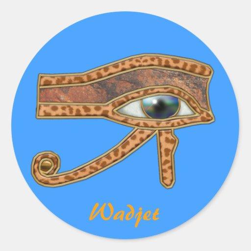 OJO de los pegatinas egipcios del arte de HORUS Etiquetas Redondas