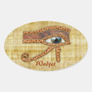 OJO de los pegatinas egipcios del arte de HORUS Pegatina Ovalada