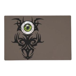 ojo de mármol tribal, verde salvamanteles