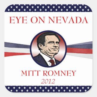 Ojo de Mitt Romney en Nevada 2012 pegatinas Pegatina Cuadrada