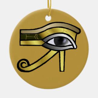 Ojo de oro de la decoración de Horus Adorno Redondo De Cerámica