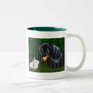 Ojo de Pascua a observar - perro del Dachshund y Taza De Café De Dos Colores