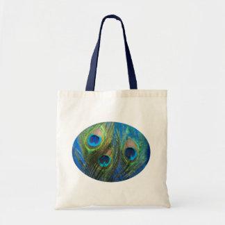 Ojo de pescados azul del pavo real bolsa de mano