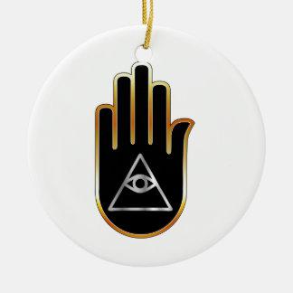 Ojo de Providence en símbolo religioso de la mano