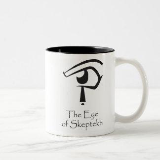Ojo de Skeptekh con el Cartouche ateo Tazas De Café