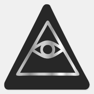 Ojo del Cao dai del icono religioso de Providence Pegatina Triangular