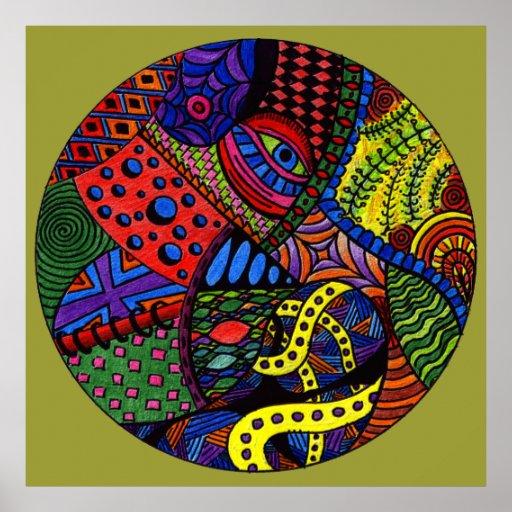 Ojo del caos - pintura colorida del doodle poster