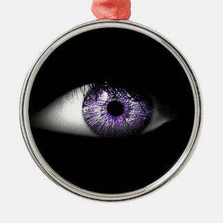 Ojo del diseño fresco lindo púrpura del globo del adorno navideño redondo de metal