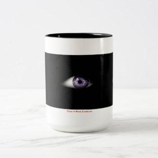 Ojo del diseño fresco lindo púrpura del globo del taza dos tonos
