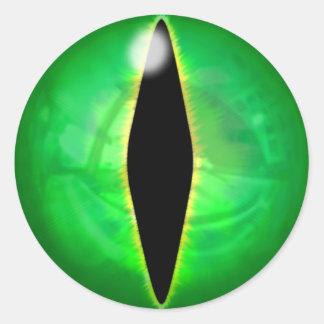 Ojo del dragón verde pegatina redonda