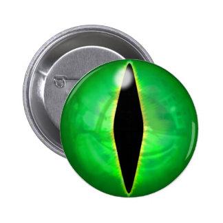 Ojo del dragón verde pin redondo de 2 pulgadas