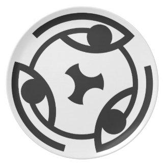 Ojo… del Glyph circular, placa de la cena/del fies Platos