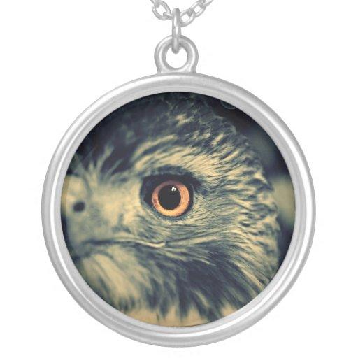 Ojo del halcón collar plateado