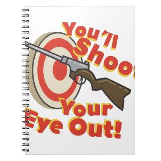 Ojo del hollín hacia fuera cuadernos