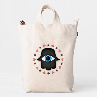 ojo del khamsa del hamsa a disposición de la diosa bolsa de lona duck