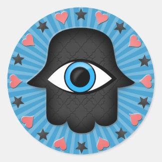 ojo del khamsa del hamsa a disposición de la diosa pegatinas redondas