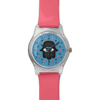 ojo del khamsa del hamsa a disposición de la diosa relojes de pulsera