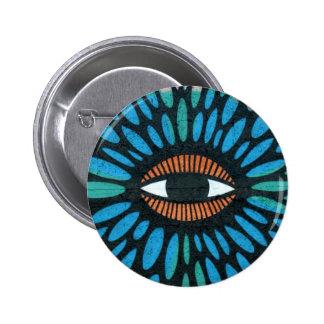 Ojo del mosaico en fondo azul y anaranjado pin redondo 5 cm