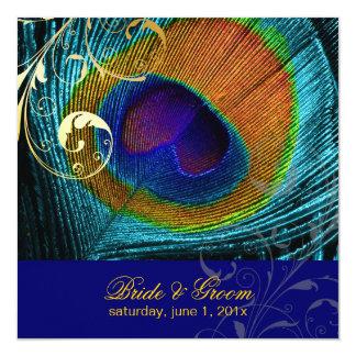 """Ojo del pavo real de PixDezines/azul de cobalto Invitación 5.25"""" X 5.25"""""""