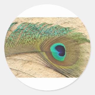 Ojo del pavo real pegatina redonda