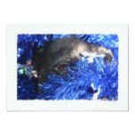 Ojo del perro en malla azul del navidad invitaciones personales