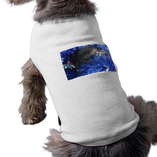 Ojo del perro en malla azul del navidad camisetas mascota