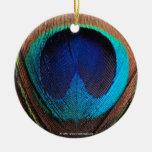 Ojo del primer de la pluma del pavo real adorno de navidad