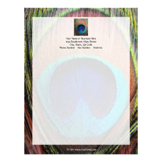 Ojo del primer de la pluma del pavo real plantilla de membrete