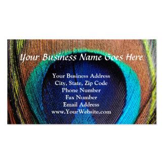 Ojo del primer de la pluma del pavo real tarjetas de visita