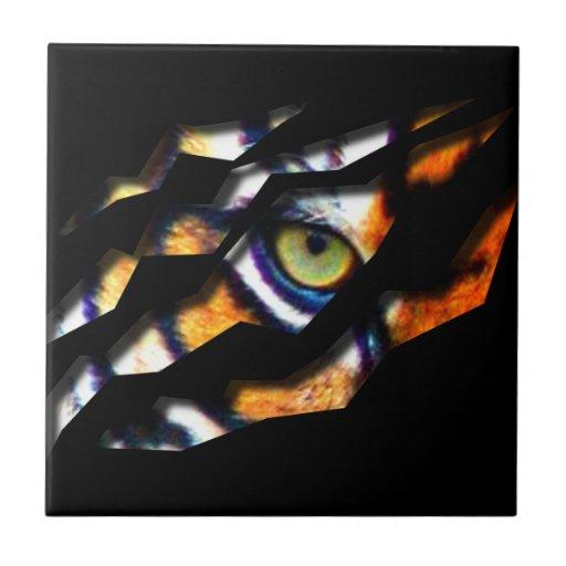 Ojo del rasgón del tigre a través teja